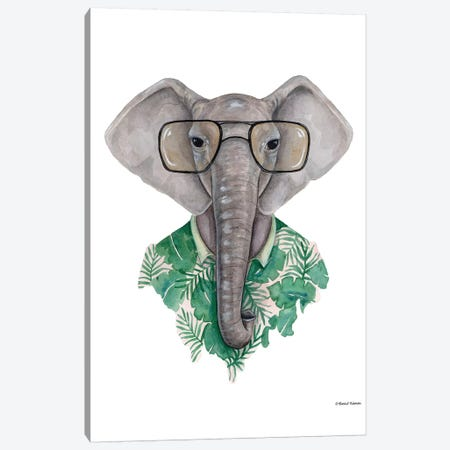 Elephant In Eye Glasses Canvas Print #RNI6} by Rachel Nieman Canvas Print