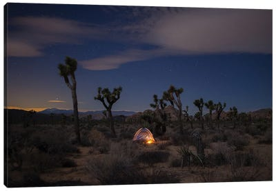 Lonely Tent Under Desert Stars Canvas Art Print