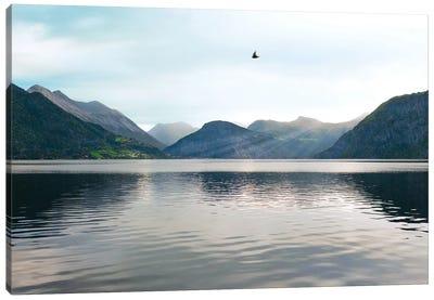 Bird Flies Over Scenic Norwegian Lake Canvas Art Print