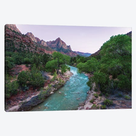 Scenic River Bends Through Lush Canyon Canvas Print #RNN24} by Ben Renschen Canvas Print