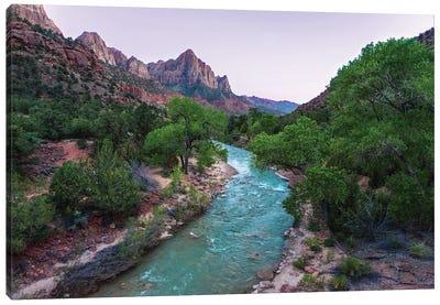 Scenic River Bends Through Lush Canyon Canvas Art Print