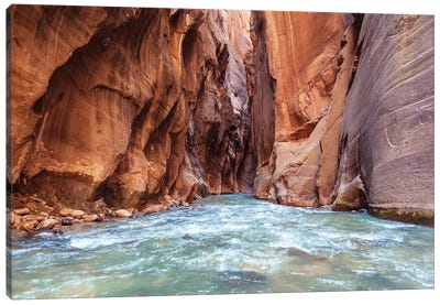 A River Runs Through Desert Canyon Walls Canvas Art Print