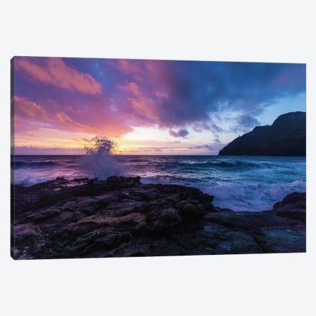 Hawaiian Sunrise As Wave Crashes Into Rocky Beach 3-Piece Canvas #RNN29} by Ben Renschen Canvas Art