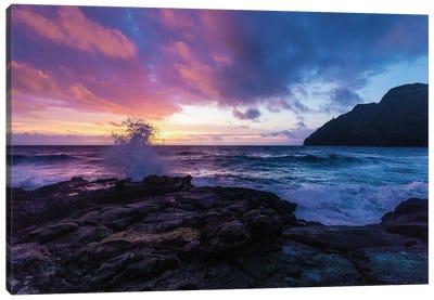 Hawaiian Sunrise As Wave Crashes Into Rocky Beach Canvas Art Print