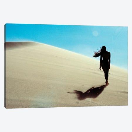 Nude Girl Walks In Desert Sand Dunes 3-Piece Canvas #RNN44} by Ben Renschen Art Print