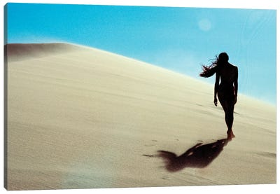 Nude Girl Walks In Desert Sand Dunes Canvas Art Print