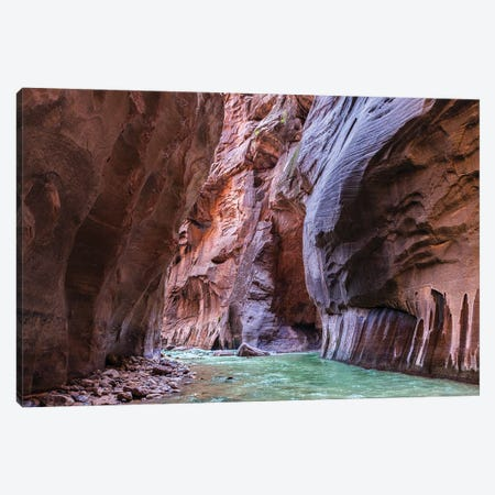 A Riverbend In The Narrows Canyon At Zion National Park, Utah Canvas Print #RNN6} by Ben Renschen Canvas Artwork