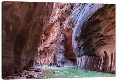 A Riverbend In The Narrows Canyon At Zion National Park, Utah Canvas Art Print