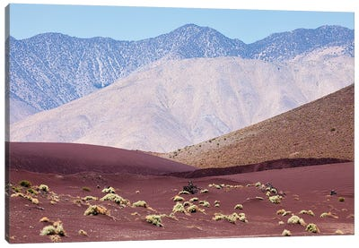 Red Desert Sand Against California Mountains Canvas Art Print
