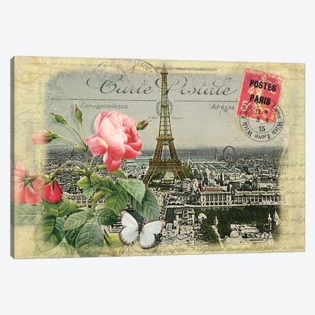 Parisian Postcard #2 Canvas Print #RNO9} by Rnob Canvas Art
