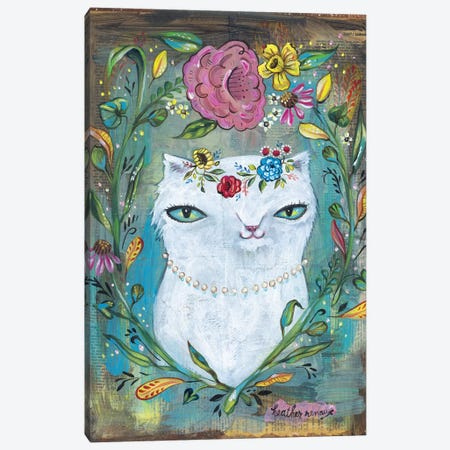 White Kitty Canvas Print #RNX100} by Heather Renaux Art Print
