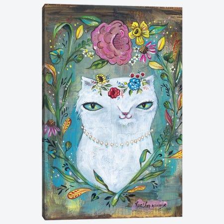 White Kitty Canvas Print #RNX100} by Heather Renaux Art Print