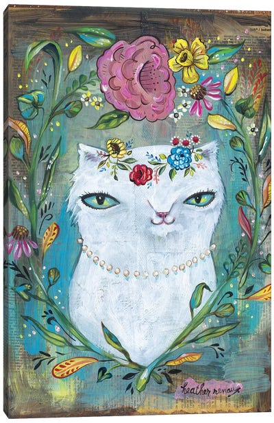 White Kitty Canvas Art Print