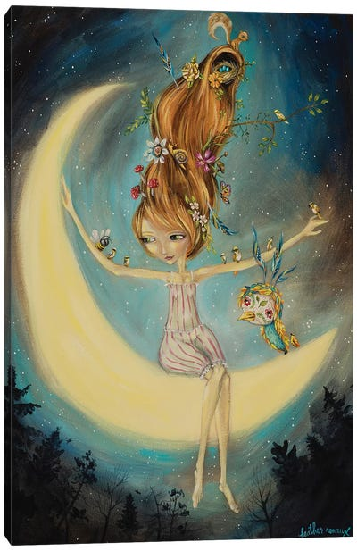 With The Moon Canvas Art Print