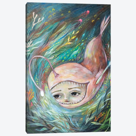 Angler Fish Illumination Canvas Print #RNX106} by Heather Renaux Canvas Artwork