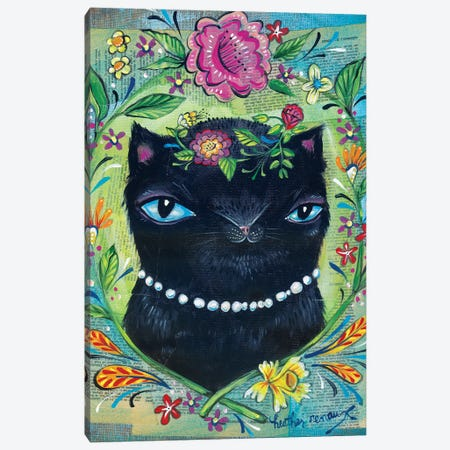 Black Kitty Canvas Print #RNX11} by Heather Renaux Art Print