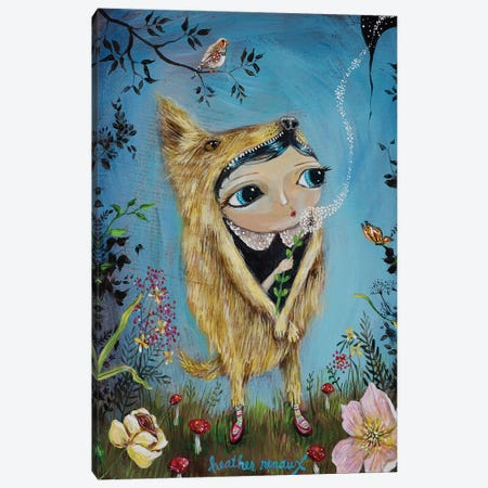 Wolf Girl Canvas Print #RNX132} by Heather Renaux Canvas Artwork