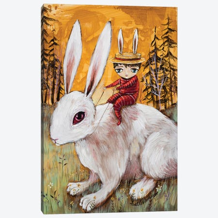 A Boy And His Bunny Canvas Print #RNX1} by Heather Renaux Canvas Wall Art