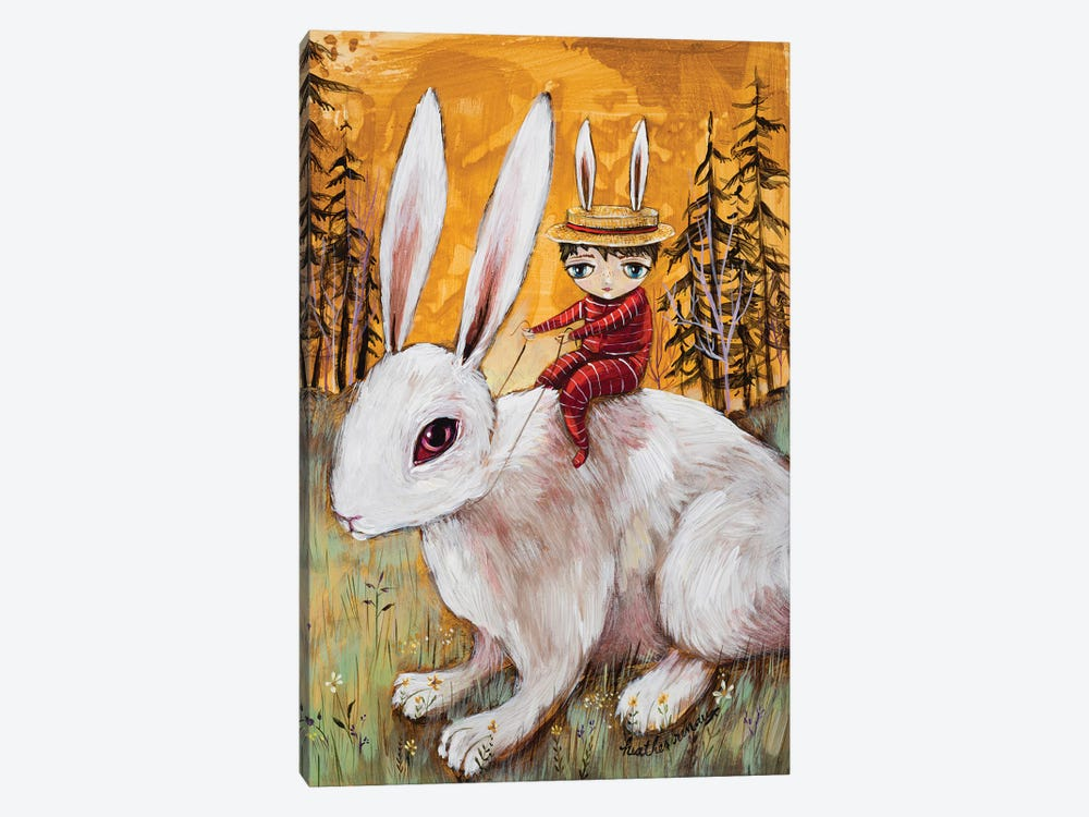 A Boy And His Bunny by Heather Renaux 1-piece Art Print