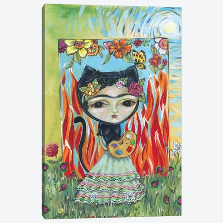 Frida In The Garden Canvas Print #RNX25} by Heather Renaux Canvas Art Print