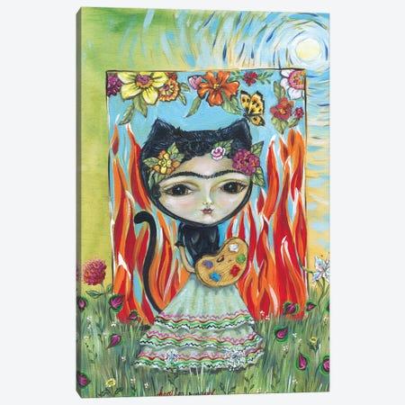 Frida In The Garden Canvas Print #RNX25} by Heather Renaux Canvas Art Print