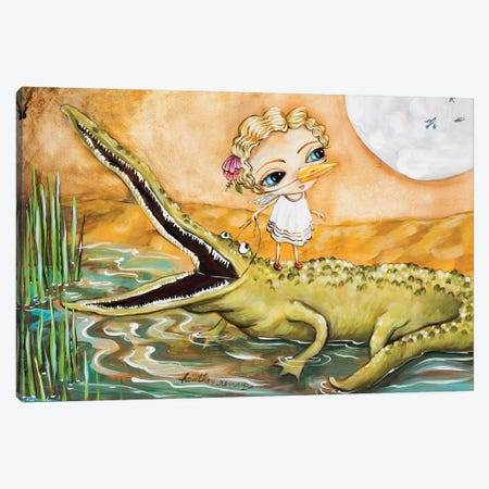 A Girl And Her Gator Canvas Print #RNX2} by Heather Renaux Canvas Artwork