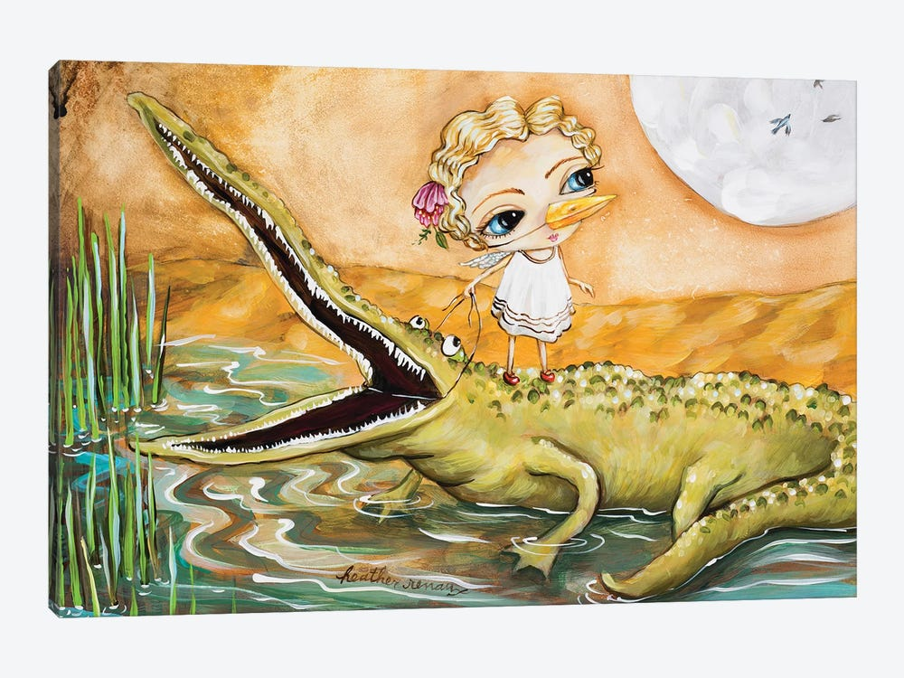 A Girl And Her Gator by Heather Renaux 1-piece Canvas Artwork