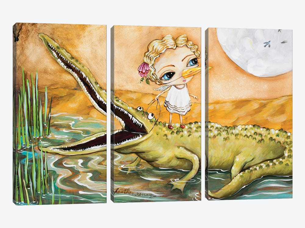 A Girl And Her Gator by Heather Renaux 3-piece Canvas Wall Art