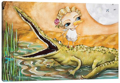 A Girl And Her Gator Canvas Art Print