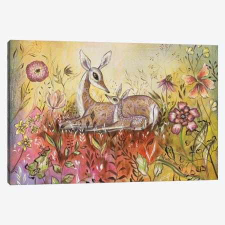 Mama And Baby Deer 3-Piece Canvas #RNX43} by Heather Renaux Canvas Artwork