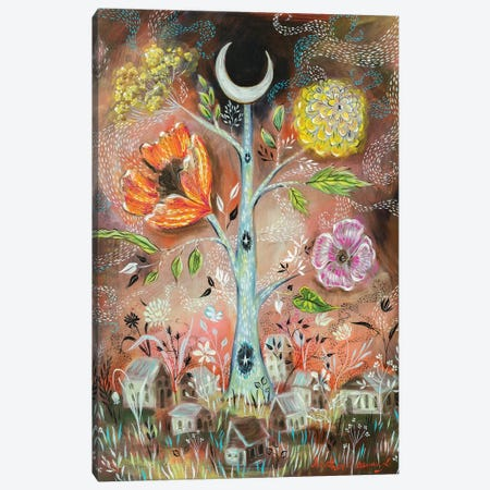 Moon And Stars Tree Canvas Print #RNX44} by Heather Renaux Canvas Art Print
