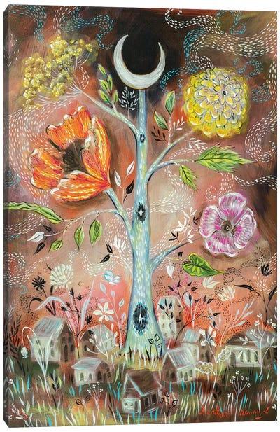 Moon And Stars Tree Canvas Art Print