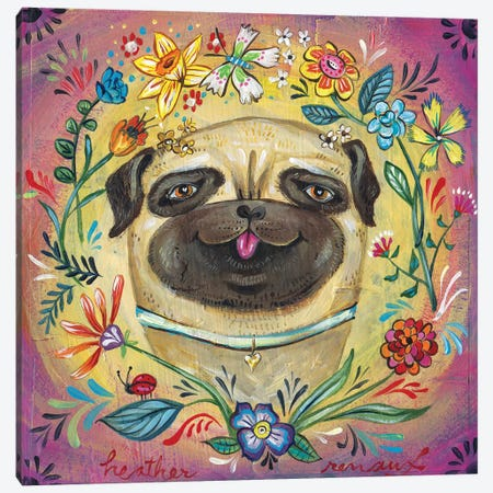 Pug Love Canvas Print #RNX60} by Heather Renaux Canvas Art