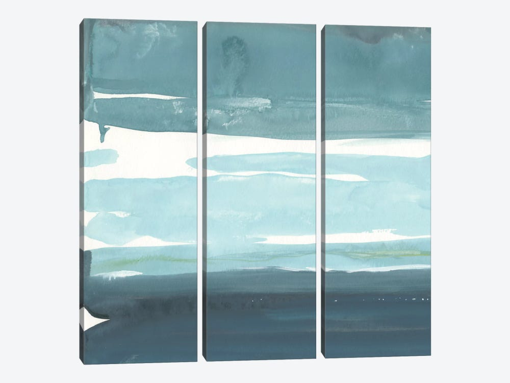 Teal Horizon I by Rob Delamater 3-piece Canvas Wall Art