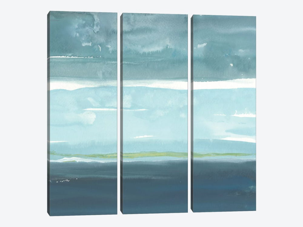 Teal Horizon II by Rob Delamater 3-piece Canvas Print