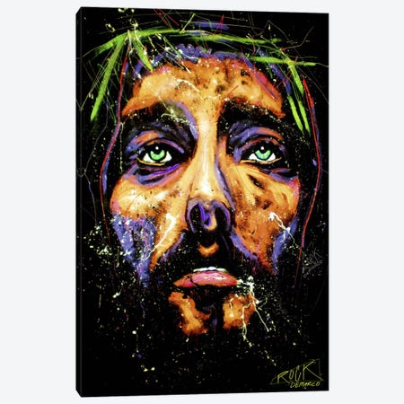 Jesus with Signature Canvas Print #ROC25a} by Rock Demarco Canvas Art Print