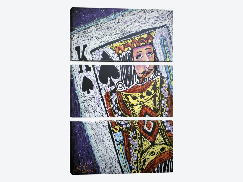 King Spades 001 with Signature by Rock Demarco 3-piece Canvas Wall Art