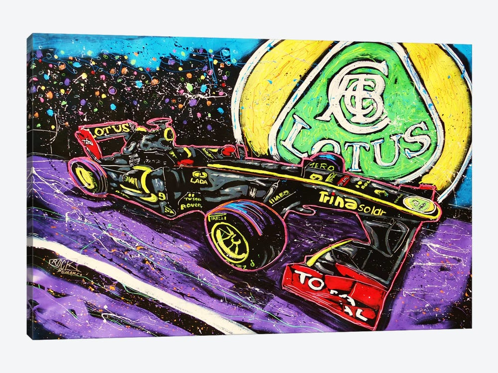 Lotus Race Car with Signature by Rock Demarco 1-piece Canvas Artwork