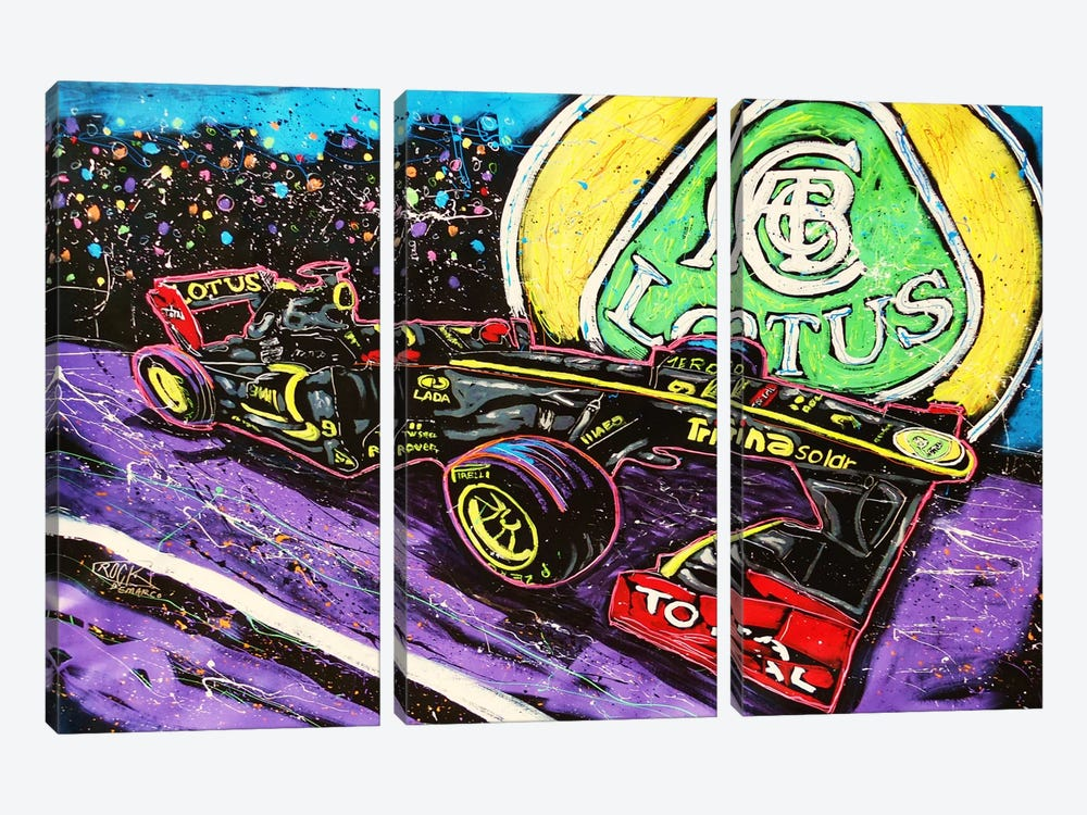 Lotus Race Car with Signature by Rock Demarco 3-piece Canvas Artwork