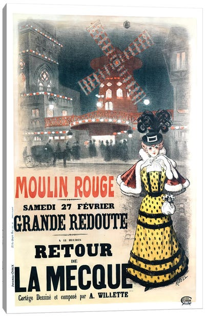 Moulin Rouge Grande Redoute Advertisement, 1897 Canvas Art Print