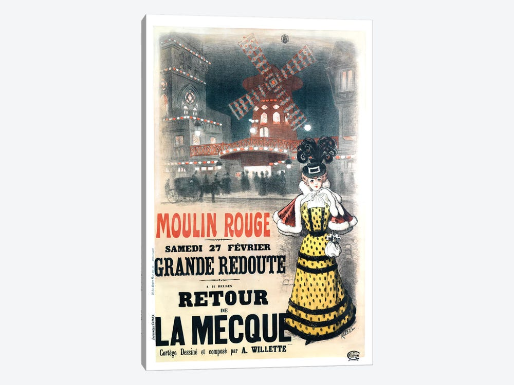 Moulin Rouge Grande Redoute Advertisement, 1897 by Auguste Roedel 1-piece Canvas Artwork