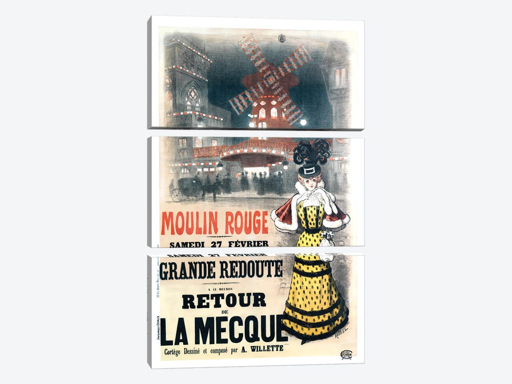 Moulin Rouge Grande Redoute Advertisement, 1897 by Auguste Roedel 3-piece Canvas Art