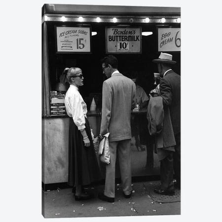 Charles James Story Ice Cream Sodas (NYC, 1949) Canvas Print #ROK13} by Ruth Orkin Canvas Art Print