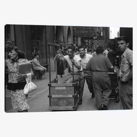 Charles James Story Men Pushing Carts (NYC, 1949) Canvas Print #ROK14} by Ruth Orkin Canvas Art