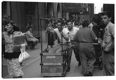 Charles James Story Men Pushing Carts (NYC, 1949) Canvas Art Print