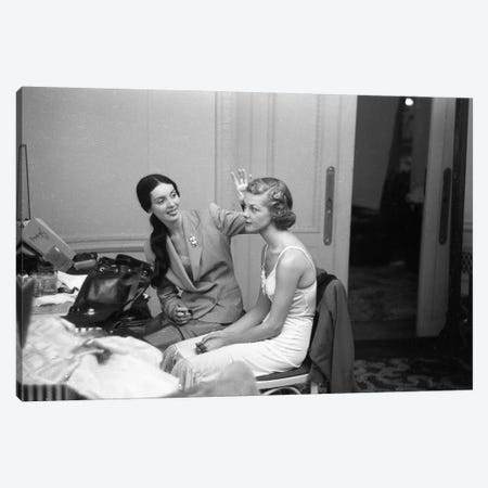 Charles James Story Two Models 1949 Canvas Print #ROK16} by Ruth Orkin Canvas Art