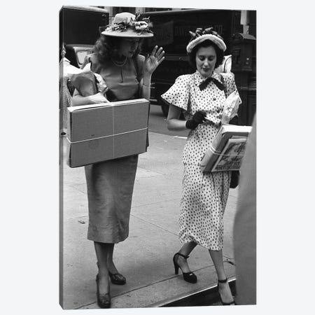 Charles James Story Women Holding Packages (NYC, 1949) Canvas Print #ROK17} by Ruth Orkin Canvas Art