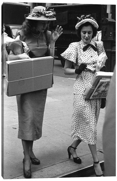 Charles James Story Women Holding Packages (NYC, 1949) Canvas Art Print