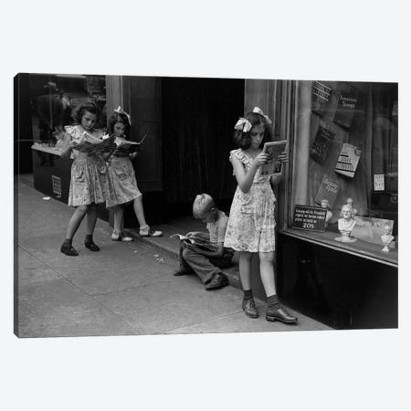 Comic Book Readers (NYC, 1947) Canvas Print #ROK18} by Ruth Orkin Art Print