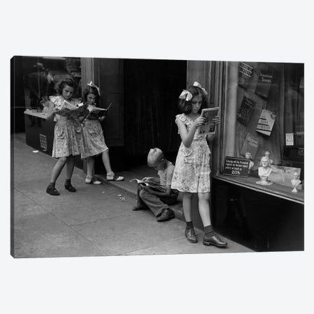 Comic Book Readers (NYC, 1947) Canvas Print #ROK18} by Ruth Orkin Art Print